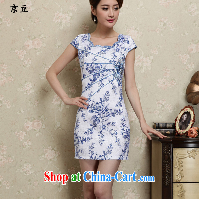 The Beijing Summer 2015 new stylish and refined beauty antique Chinese qipao Ms. dress blue and white porcelain HM - JAYT 28 blue XXL