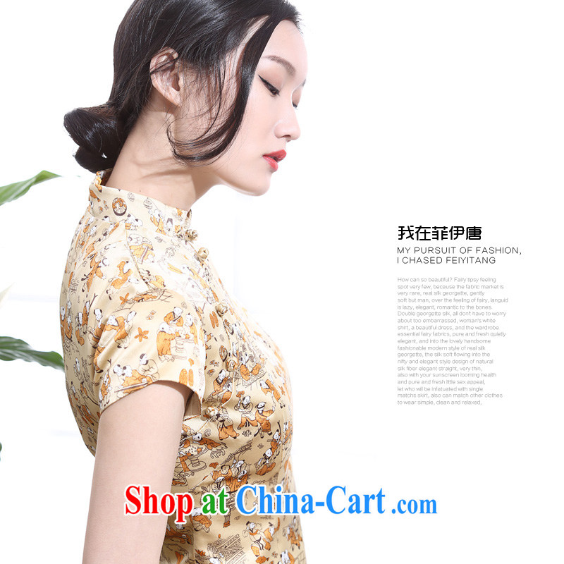 Summer 2015, 100 sub-figure silk stamp daily outfit girl Old Shanghai sepia, qipao for China wind yellow L
