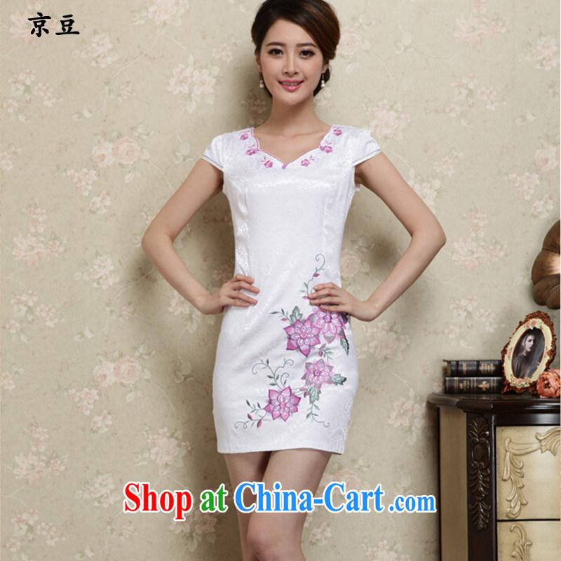 The Beijing Summer 2015 new cheongsam dress stylish beauty cheongsam dress short embroidered dresses female HM - JAYT 27 purple XXL