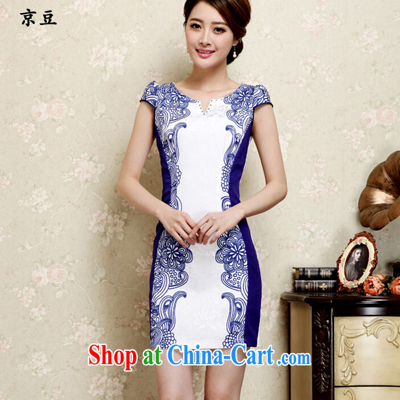 The Beijing Summer 2015 new stylish and refined beauty antique Chinese qipao Ms. dresses and fresh blue HM - JAYT 26 blue XXL