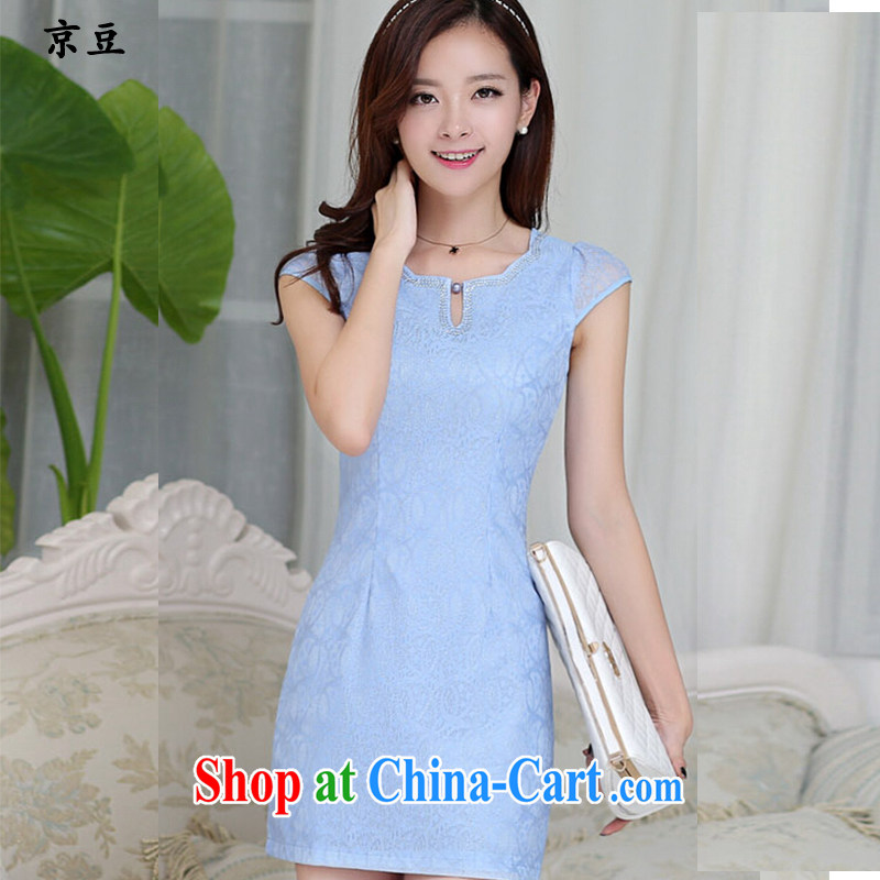 The Beijing Summer 2015 New Products lace elegant ladies dress qipao HM - JAYT 23 blue L