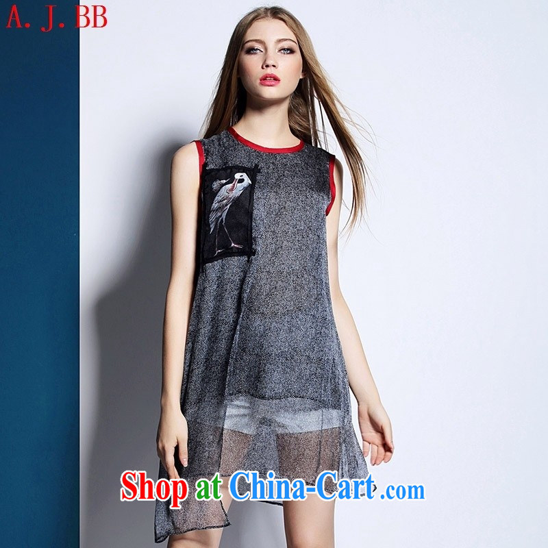 European and American high-end women's clothing new summer, silk shirts, field-applied the loose Sleeveless T-shirt picture color XL