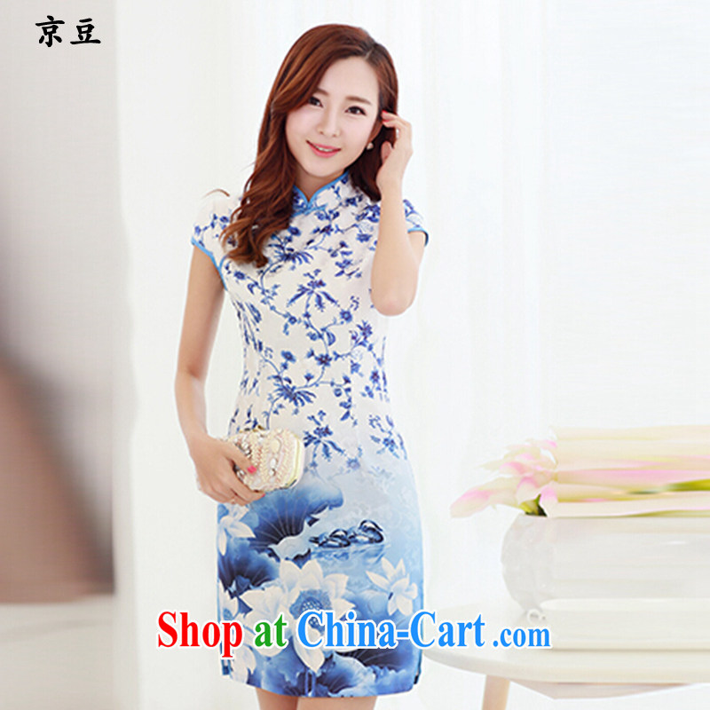 The Beijing Summer 2015 new cheongsam dress daily video thin beauty fresh robes, Aura short dress HM - JAYT1 picture color XXL