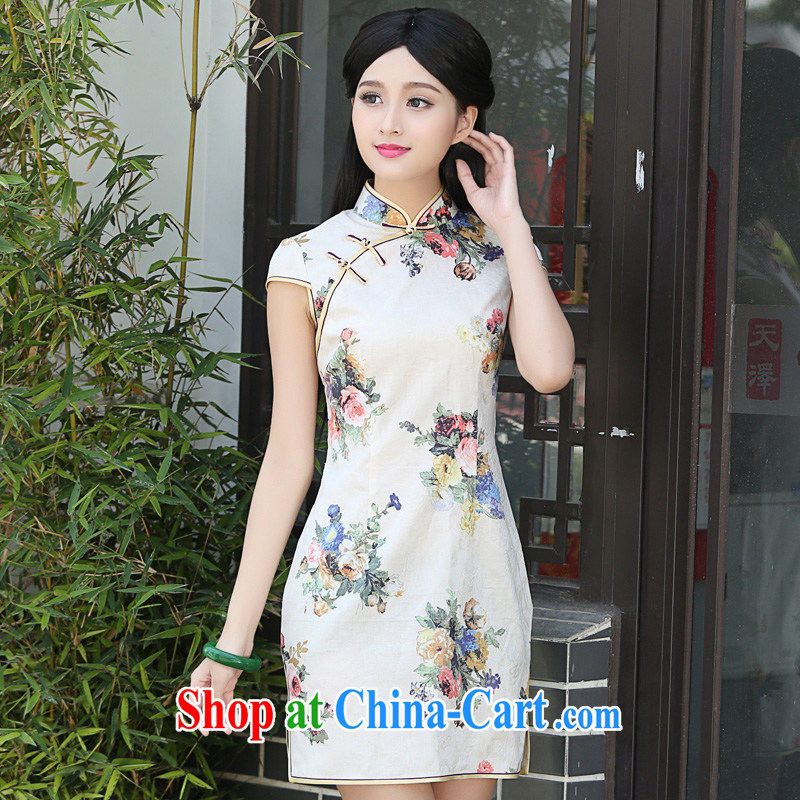 China classic retro improved short summer daily Chinese Chinese qipao dresses cultivating the waist literary Women fancy XXL