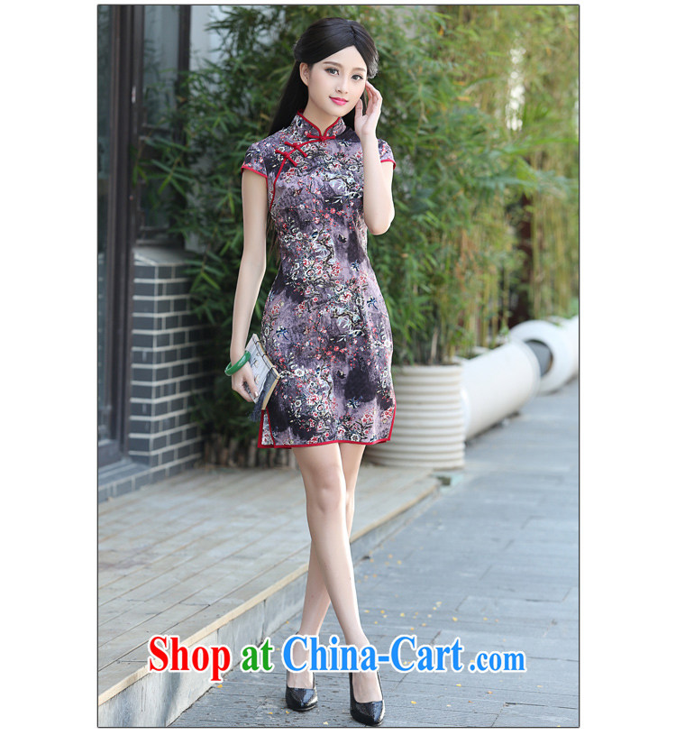 China classic 2015 new daily improved stylish beauty retro dresses, summer short cheongsam style floral XXL pictures, price, brand platters! Elections are good character, the national distribution, so why buy now enjoy more preferential! Health