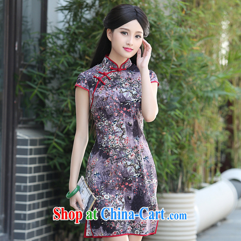 China classic 2015 new daily improved stylish beauty retro dresses, summer short cheongsam style floral XXL