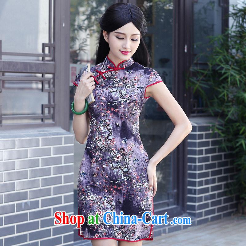 China classic 2015 new daily improved stylish beauty retro dresses, summer short cheongsam style floral XXL, China Classic (HUAZUJINGDIAN), and, on-line shopping