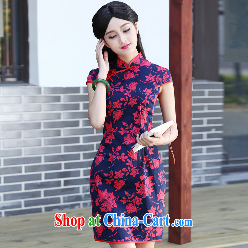China classic 2015 summer new retro improved cheongsam daily short, dresses Chinese arts, fancy XXXL