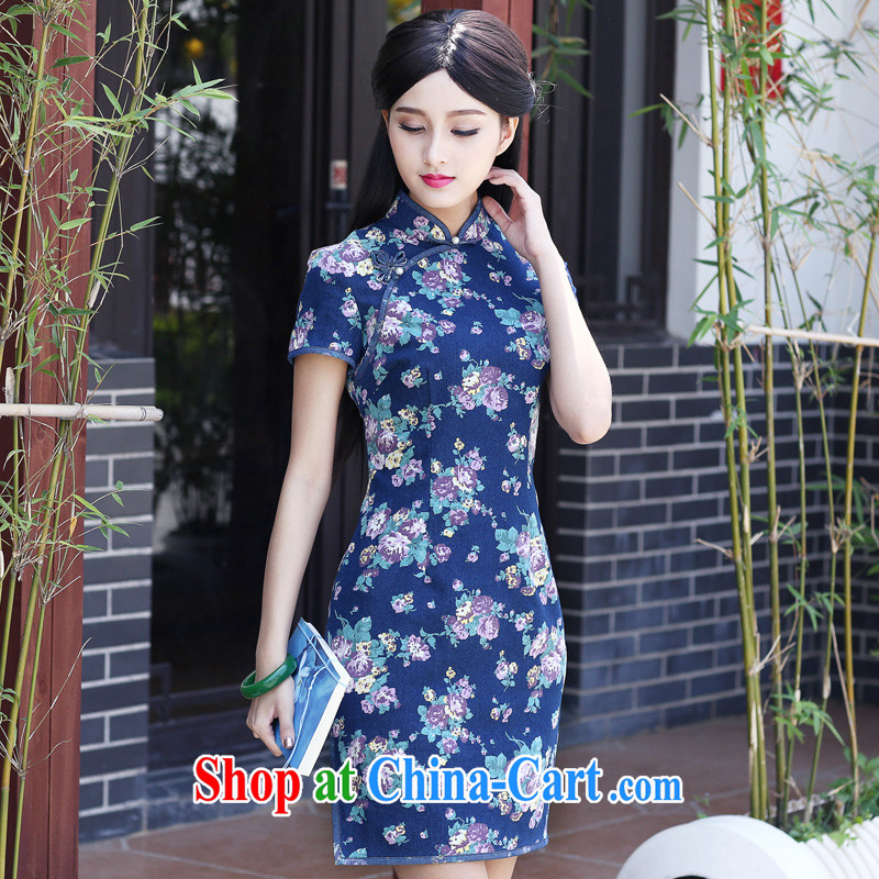 China classic 2015 new dresses summer retro improved short-day, cultivating China wind dress suit XXXL