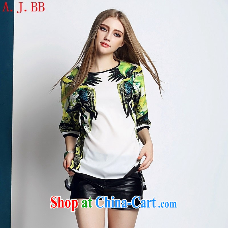 Black butterfly 2015 spring and summer New Trend female boutique entities loose stamp T shirt T-shirt picture color XL
