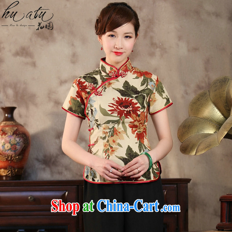 spend the summer new, Retro, Chinese Cotton dyeing mA short-sleeved improved cheongsam Chinese wind small, collared T-shirt such as the color 2 XL