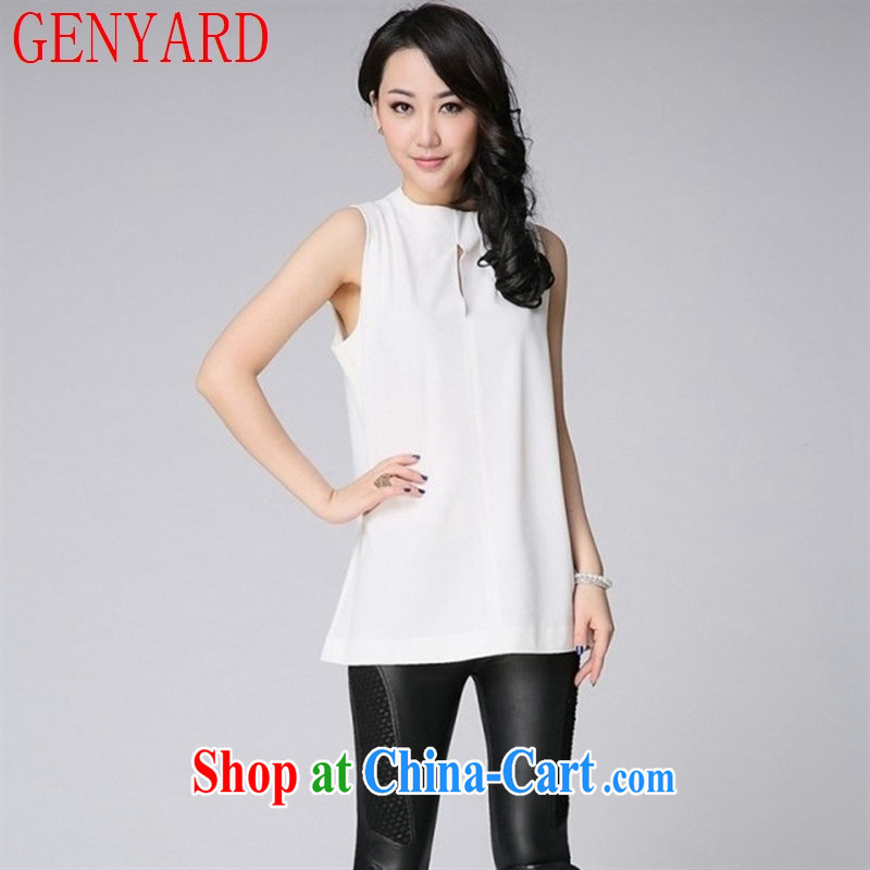 Qin Qing store 2015 summer Korean sleeveless high-collar blouses thick MM larger loose T-shirt, long female large white code 46 _165 - 180 _ jack