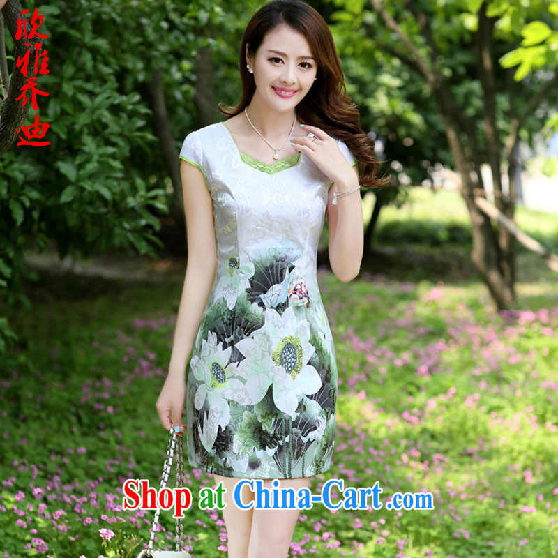 Yan, Jody 2015 summer new Korean lady larger floral short-sleeve package and graphics thin cheongsam dress Green lotus 3 XL