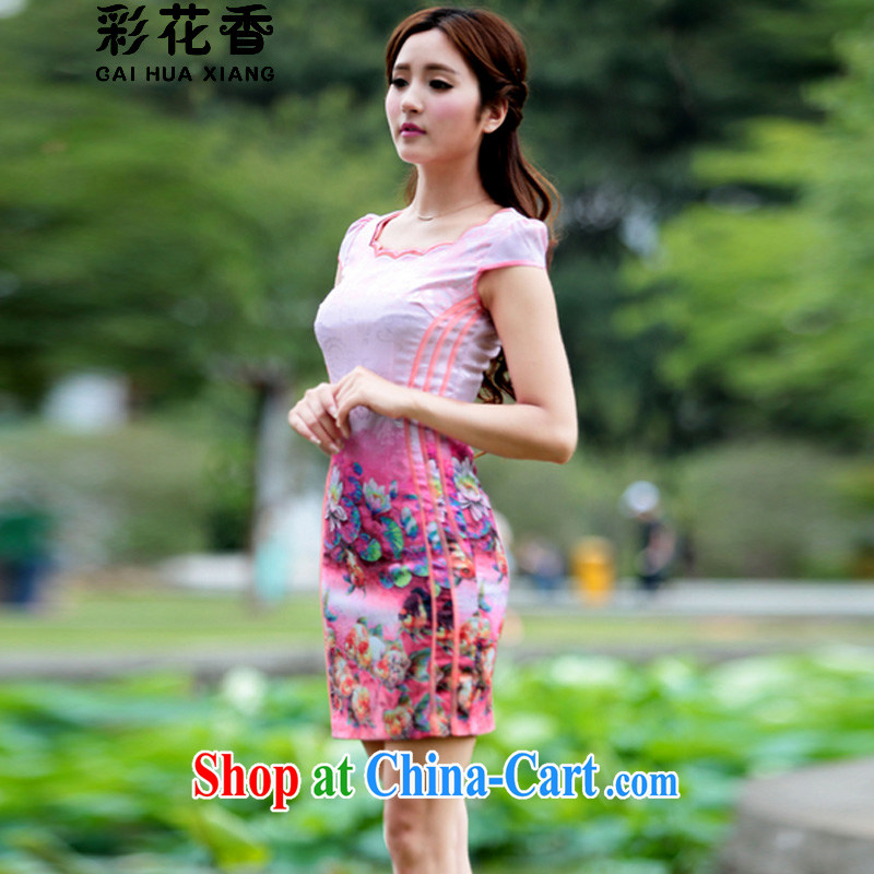 Colorful Flowers 2015 new stamp pixel color dresses retro dress stylish summer short cheongsam dress pink XL