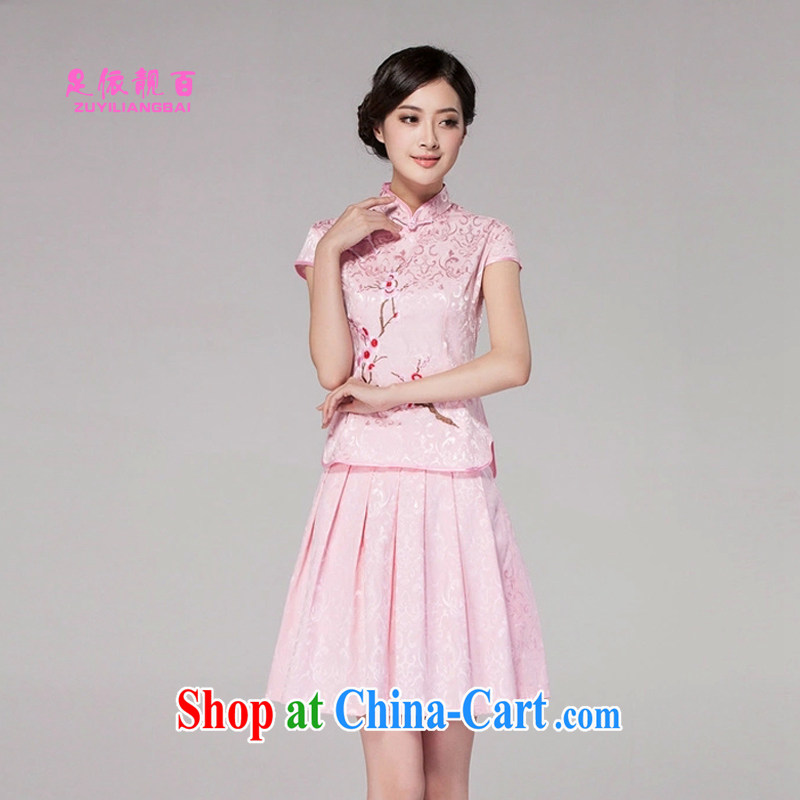 In accordance with their beautiful 100 2015 female Chinese cheongsam dress high-end retro style two-part kit B - 518 - 1125 pink XL