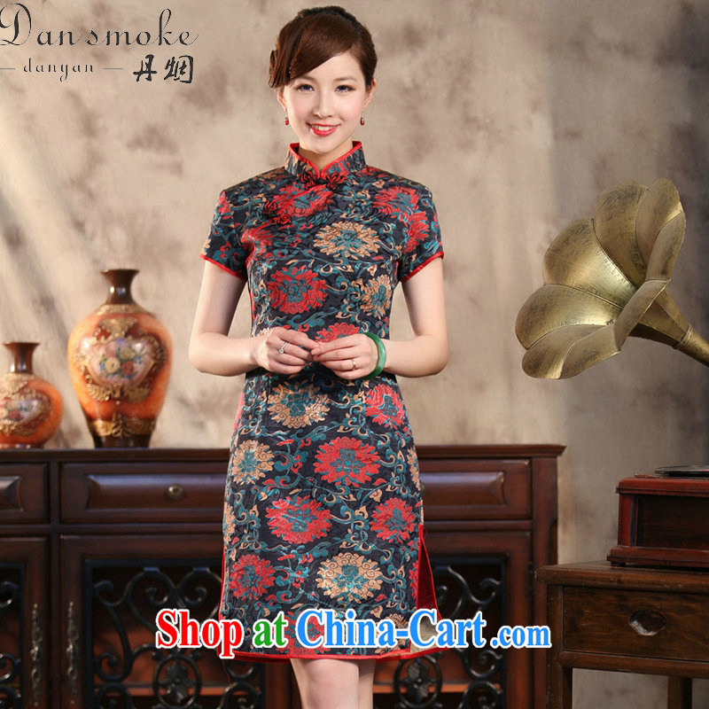 Bin Laden smoke-free summer, new outfit, Ms. Tang with Chinese improved the collar retro jacquard rich spend cultivating short dresses such as the color 2 XL