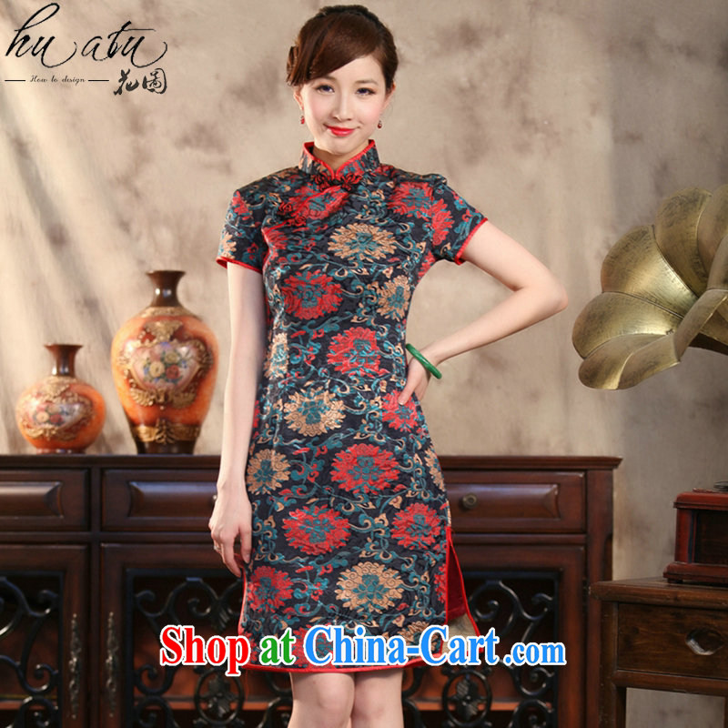 spend the summer, new outfit, Ms. Tang with Chinese improved the collar retro jacquard flower rich beauty short cheongsam as color 2XL