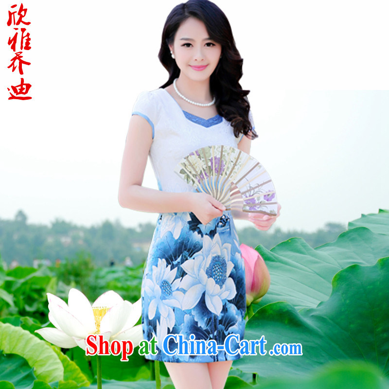 Yan Nga Jody stamp cheongsam dress 2015 new spring, summer short, beauty and stylish retro package and Mr Ronald ARCULLI, short-sleeved dresses girls blue lotus 3 XL