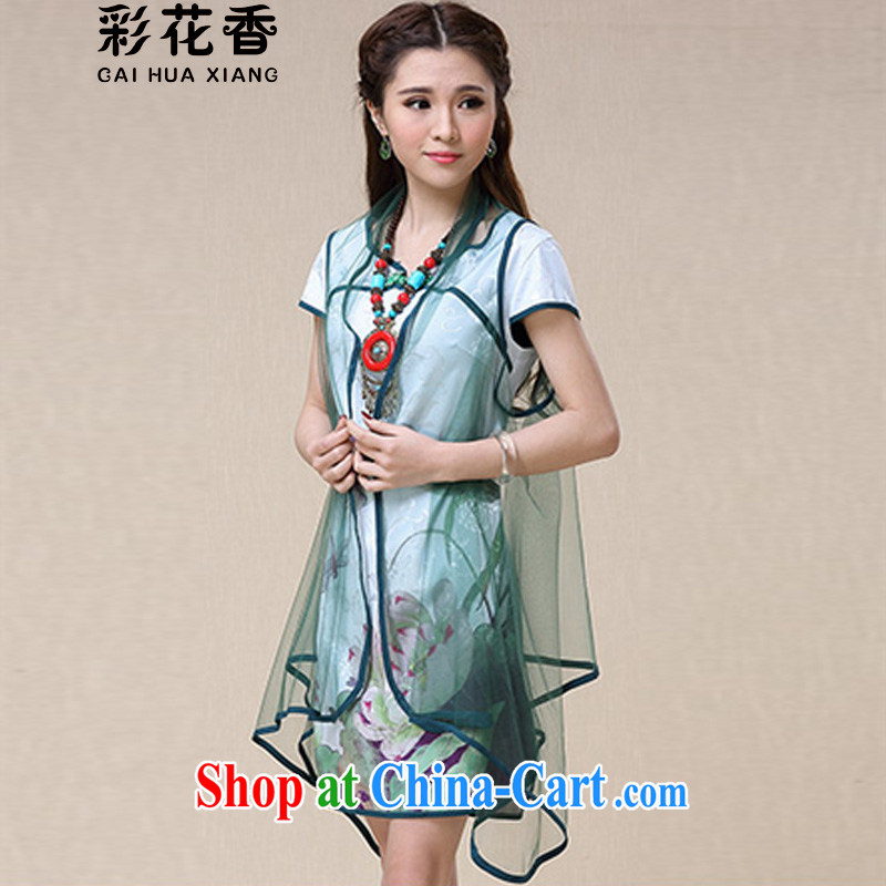Colorful Flowers 2015 spring and summer women China wind National wind stamp dresses qipao 8958 picture color XXL