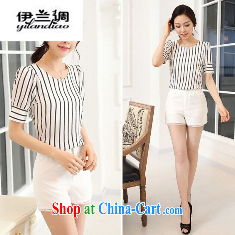 9 month female _ 2015 snow-woven shirts girls summer, new short-sleeved Korean Beauty stamp female solid shirt snow woven black-and-white striped XXL