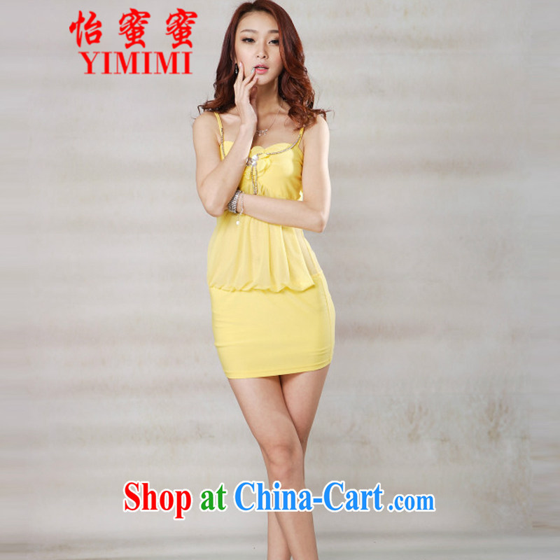 Selina Chow honey honey 2015 new women's clothing store night ladies' fashion sense of beauty video thin strap with double-yi skirt JM E - 082 - 1319 yellow are code