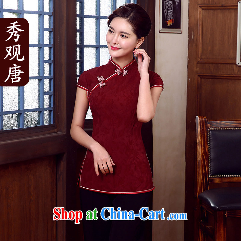 The CYD HO Kwun Tong' MR NGAN KAM-CHUEN _The 2015 summer Chinese T-shirt Chinese, improved Chinese blouses maroon XXXL