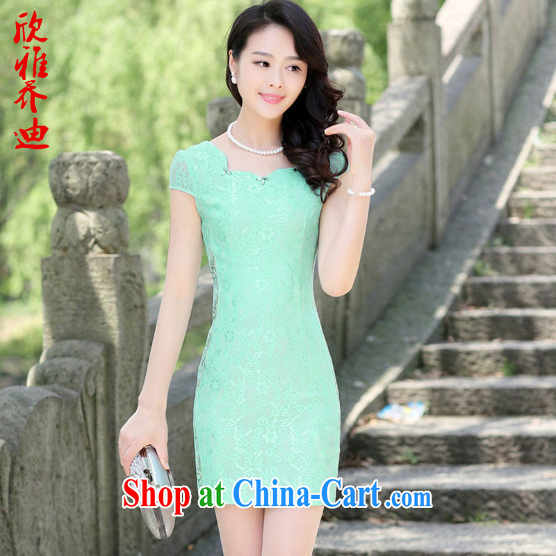 Yan Nga Jody 2015 New Spring, Summer dresses skirts dresses girls retro short improved stylish the waist arts stamp skirt green 3 XL