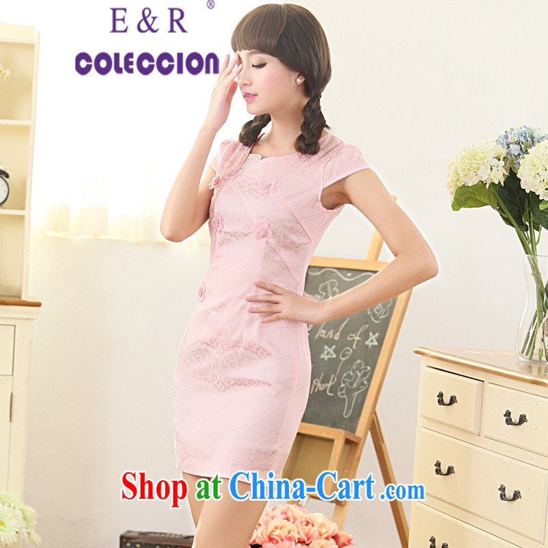 Dresses 2015 new spring and summer with white floral retro daily improved cheongsam dress temperament female pink XXL