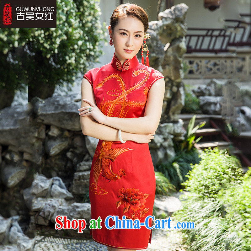 Mr. Wu female Red 2015 summer wear new dresses Bong through Peony short red M