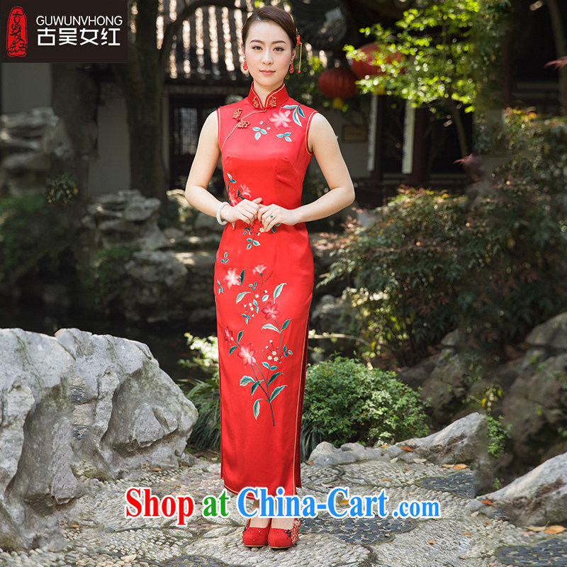 Mr. Wu female Red 2015 summer new 100-black long saffron, red XXL