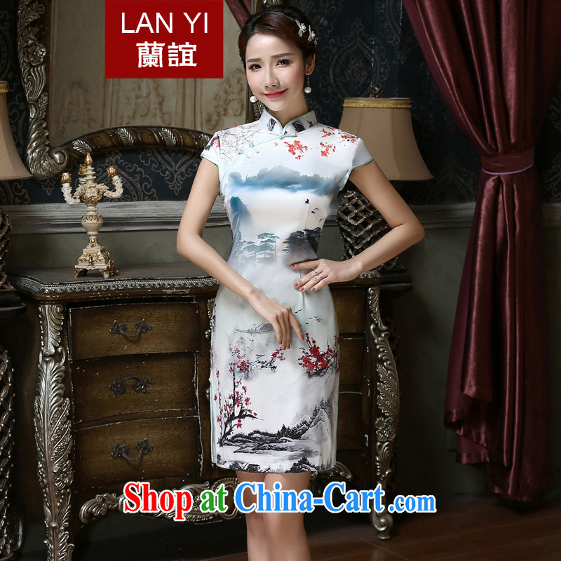 Friends, summer 2015 new improved daily dresses classic retro style dresses beauty, thick computer stamp short cheongsam dress燪 419 quality assurance