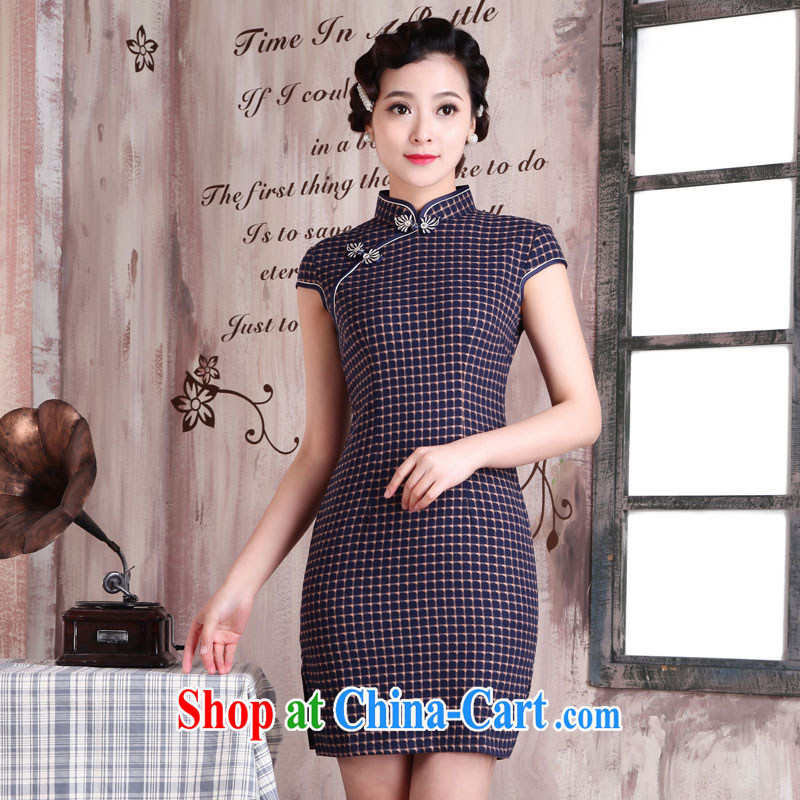 Jubilee 1000 bride 2015 spring loaded new summer daily fashion improved retro short checked short-sleeved dresses dresses dresses X 2013 style XXL