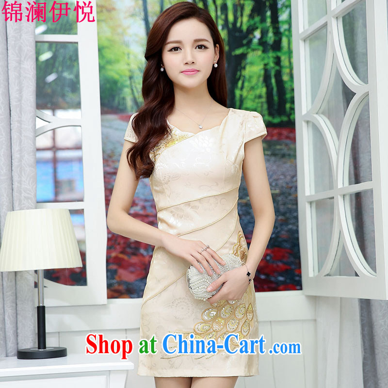 kam world the Hyatt summer new Chinese small dress short improved qipao the marriage feast day retro graphics thin beauty dresses white and yellow XXL