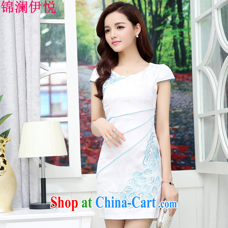 kam world the Hyatt 2015 new improved style dresses summer fashion dress retro beauty short dress Chinese stamp skirt white blue M