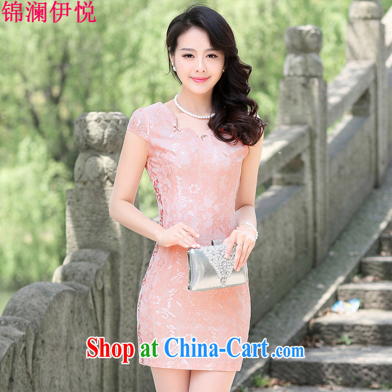 kam world at the Summer 2015 new stylish jacquard cheongsam dress girls improved daily style package and graphics thin large code short-sleeved lace dress short skirt pink 3XL