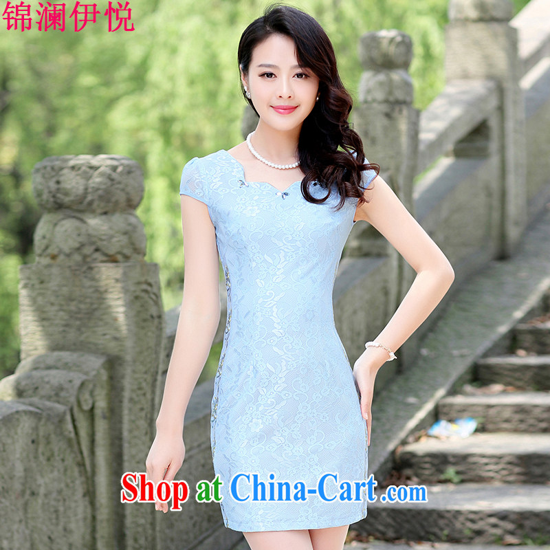 kam world the Hyatt summer dresses skirts short skirts 2015 summer new ethnic wind national load the code on a new high-end short-sleeved dresses blue 3 XL