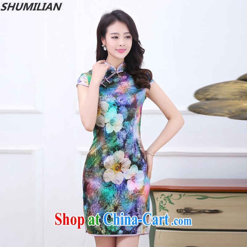 Mrs M, summer 2015 new stylish silk, stamp duty for cheongsam saffron XXL