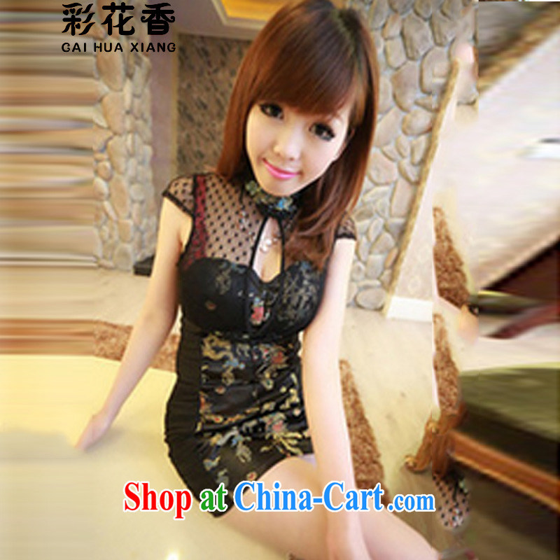 Colorful Flowers 2015 my store sexy, Retro Web yarn stitching qipao graphics thin package and dresses stamp dress 9339 black are code