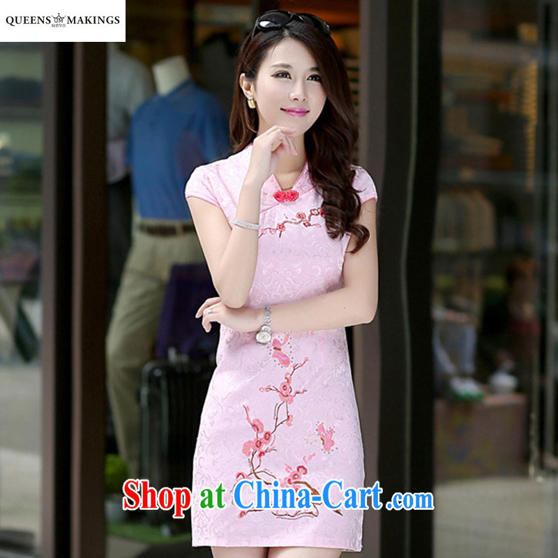 2015 summer new dresses and stylish dress retro sleeveless National Service girls with short dress 1604 pink XL
