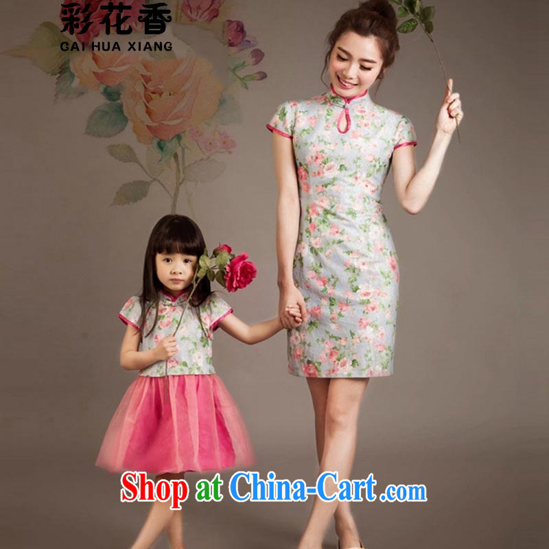Colorful Flowers 2015 summer new stylish parent-child fashion Ethnic Wind lace dresses and female Kit skirt 805 photo color 115 CM