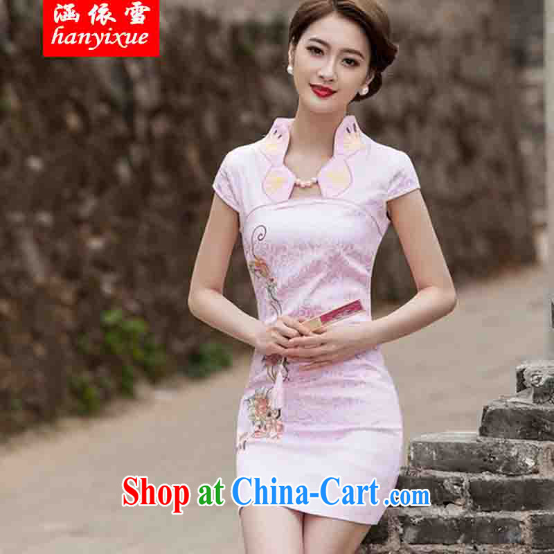 covered by snow in 2015 new summer fashion improved cheongsam dress daily video thin beauty short cheongsam dress, pink S, covered in snow, and Internet shopping