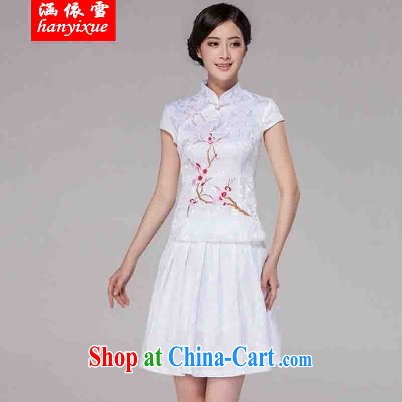 covered by snow in accordance with 2015 spring and summer new women Tang with improved daily cheongsam dress retro style modern two-piece with white XXL