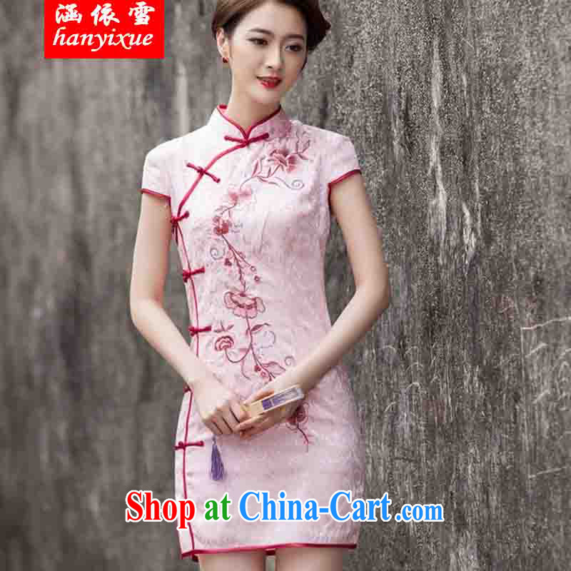 covered by snow in 2015 spring and summer new Chinese Antique improved stylish short day cultivating cheongsam dress pink L