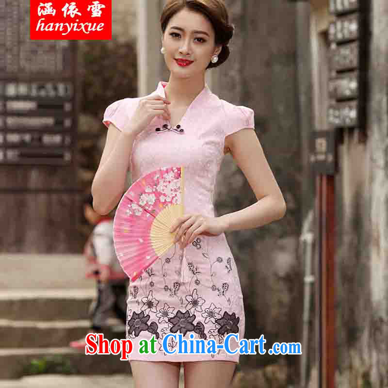 covered by snow in 2015 new Stylish retro short dresses summer improved cheongsam dress, daily outfit skirt pink XXL