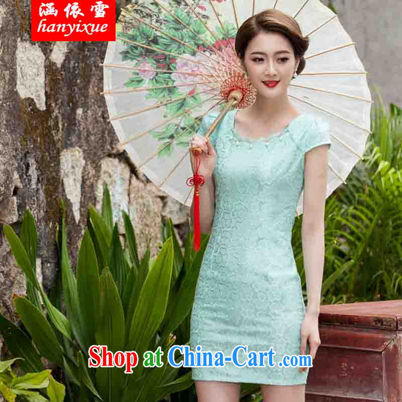 covered by snow in accordance with 2015 spring and summer new, lace dresses and stylish beauty dress Openwork hook take Lake blue XL
