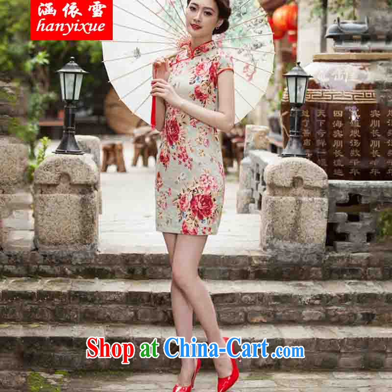 covered by snow in accordance with 2015 spring and summer new, elegant beauty, short cheongsam daily improved fashion cheongsam dress suit XXL