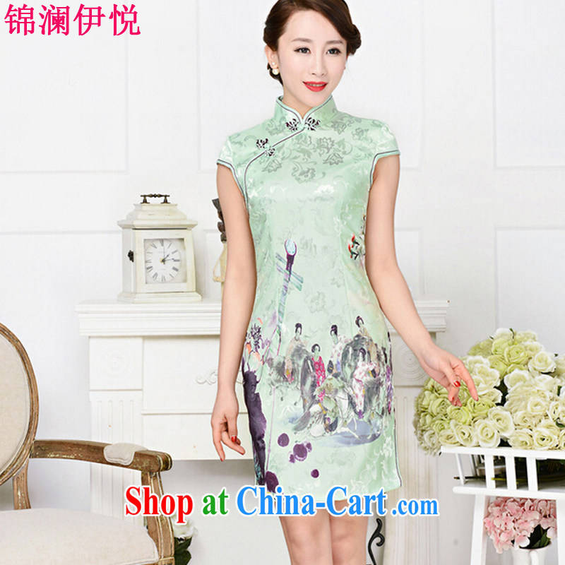 kam world the Hyatt 2015 new painting Phillips figures Peony stamp beauty graphics thin retro dresses improved daily dress middle-aged female beauty pipa fancy XXL