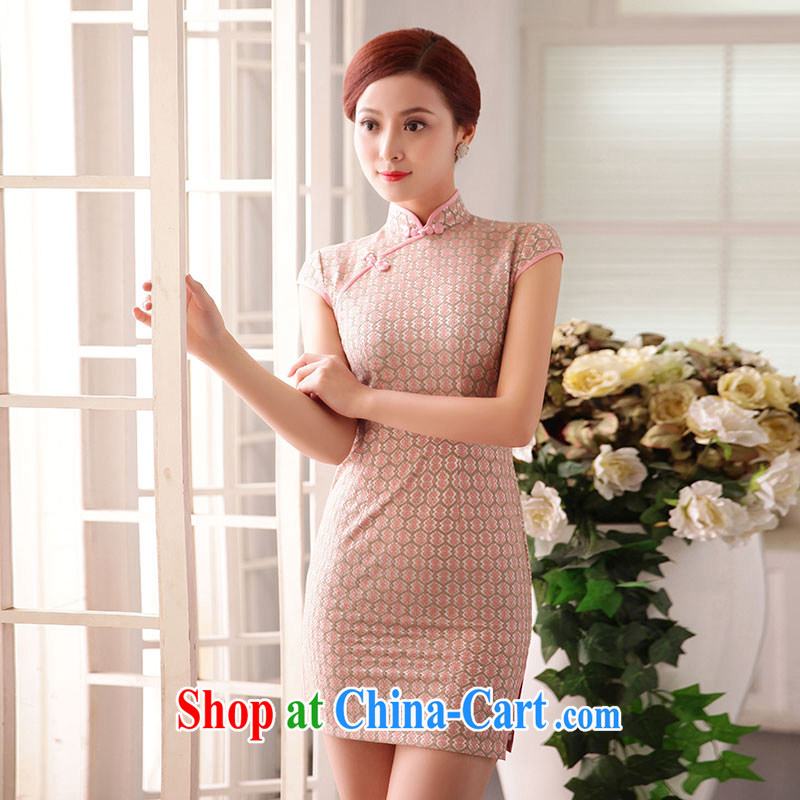 Jubilee 1000 bride's 2015 spring new daily cultivating tartan retro Korea improved Chinese Tang with long-sleeved gown cheongsam dress X in 2091 on the opening of the flowers XXL