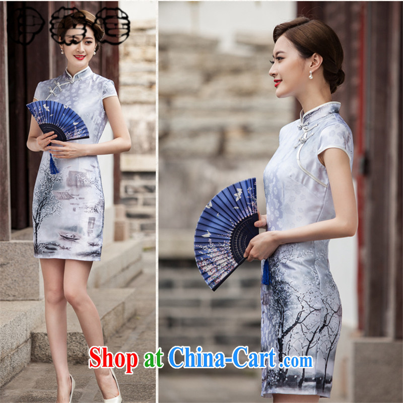 Mr. Lin 2015 summer classic landscape paintings short sleeve cheongsam dress retro fashion China wind without the forklift truck flap sporting temperament, short cheongsam water color XXL