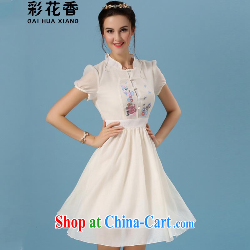 Colorful Flowers summer 2015 new dress of antique literary women cheongsam embroidered shaggy short skirts 6122 light yellow XL